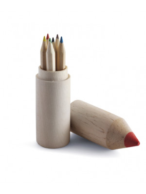 Wooden Pencil Shaped Holder With Coloured Pencils