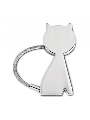 Chrome Plated Cat Shaped Keyring