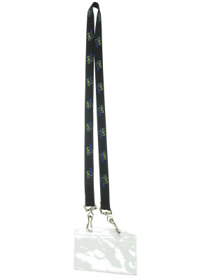 Portugal Flat Ribbed Lanyard With Pvc Business Card Pocket