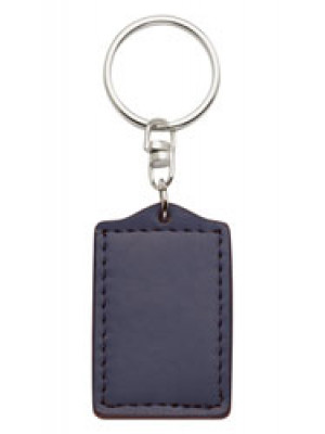 Bonded Leather Keyring - Blue